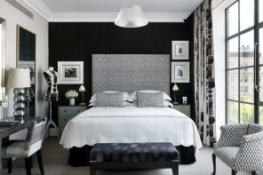 Dark colored room with white ceiling