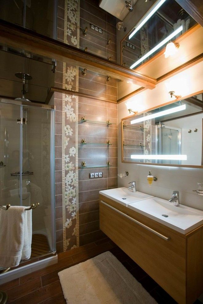 Modern bathroom with wooden vanity and light ceramic tile