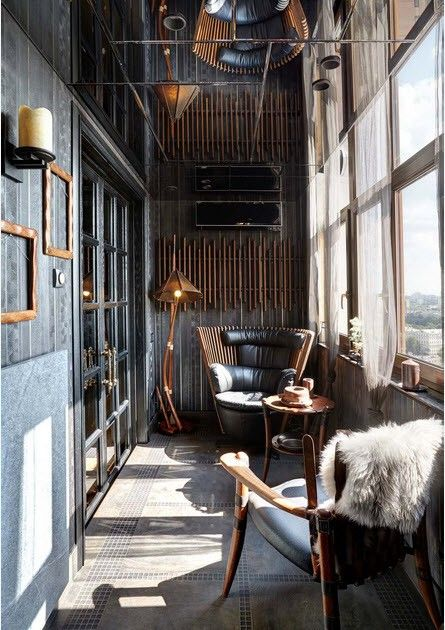 Steampunk styled interior at the narrow balcony