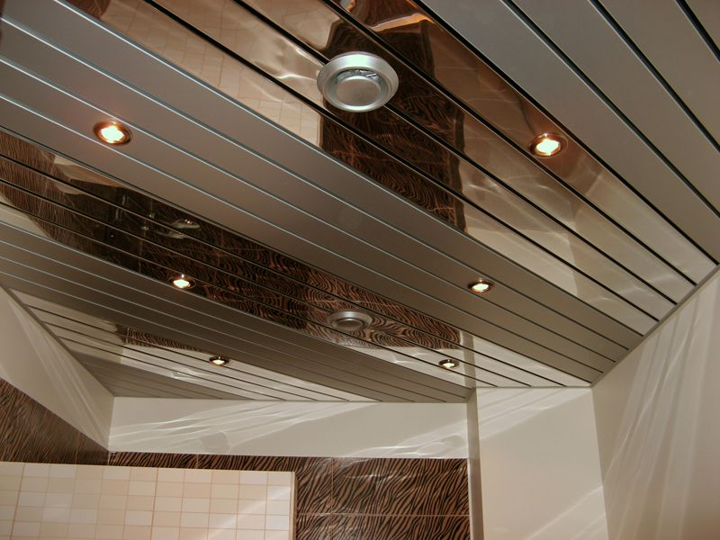 Cassette aluminum mirroring ceiling with built-in lighting