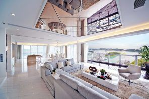 Mirror ceiling tiles for large suburb modern apartment with panoramic view