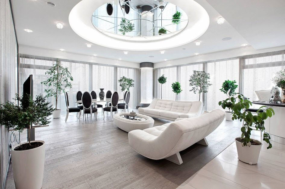 Fake domed mirror ceiling in the futuristic atmosphere of the open layout apartment