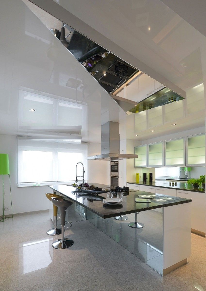 Shed mirror ceiling in the ultramodern light kitchen