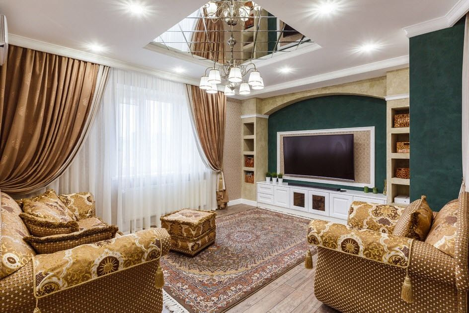 Classic living room with tray mirror ceiling and large LED TV