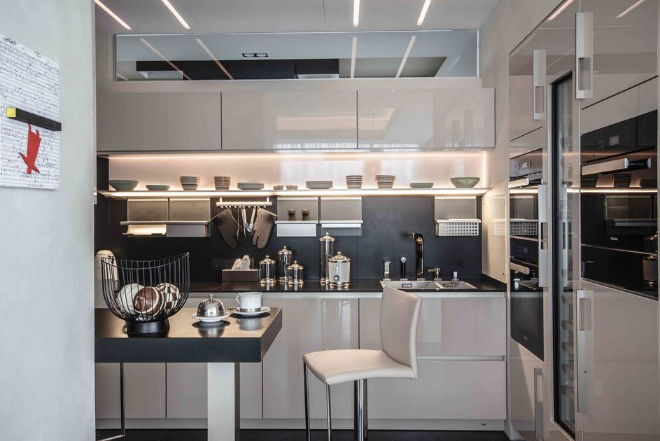 amazing modular kitchen design in white with mirroring surfaces