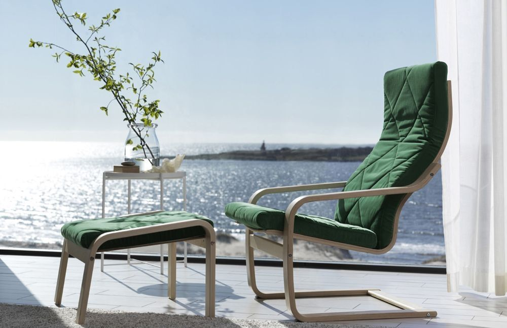 Green upholstered poang armchair outdoor