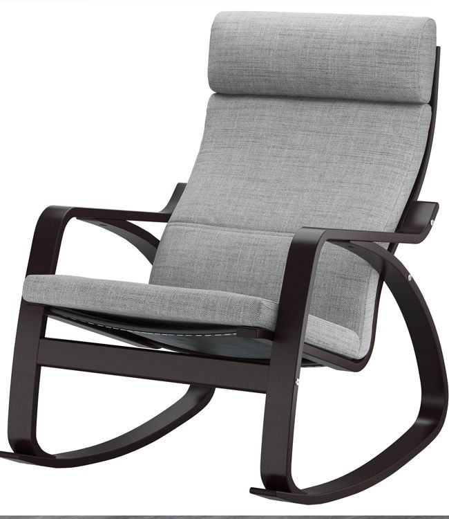Dark wooden frame of poang chair