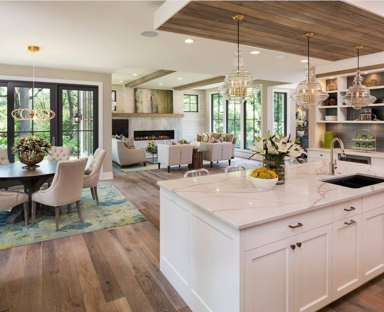 White large island in the kitchen