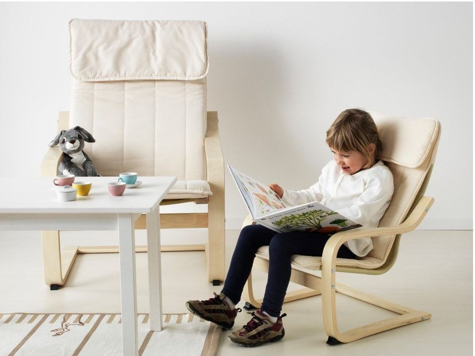 Couple of poang armchairs in light tones for kids room
