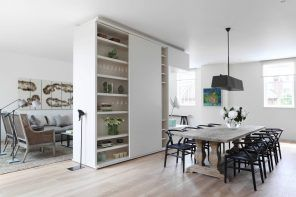 Wardrobe zoning in the large Scandinavian apartment