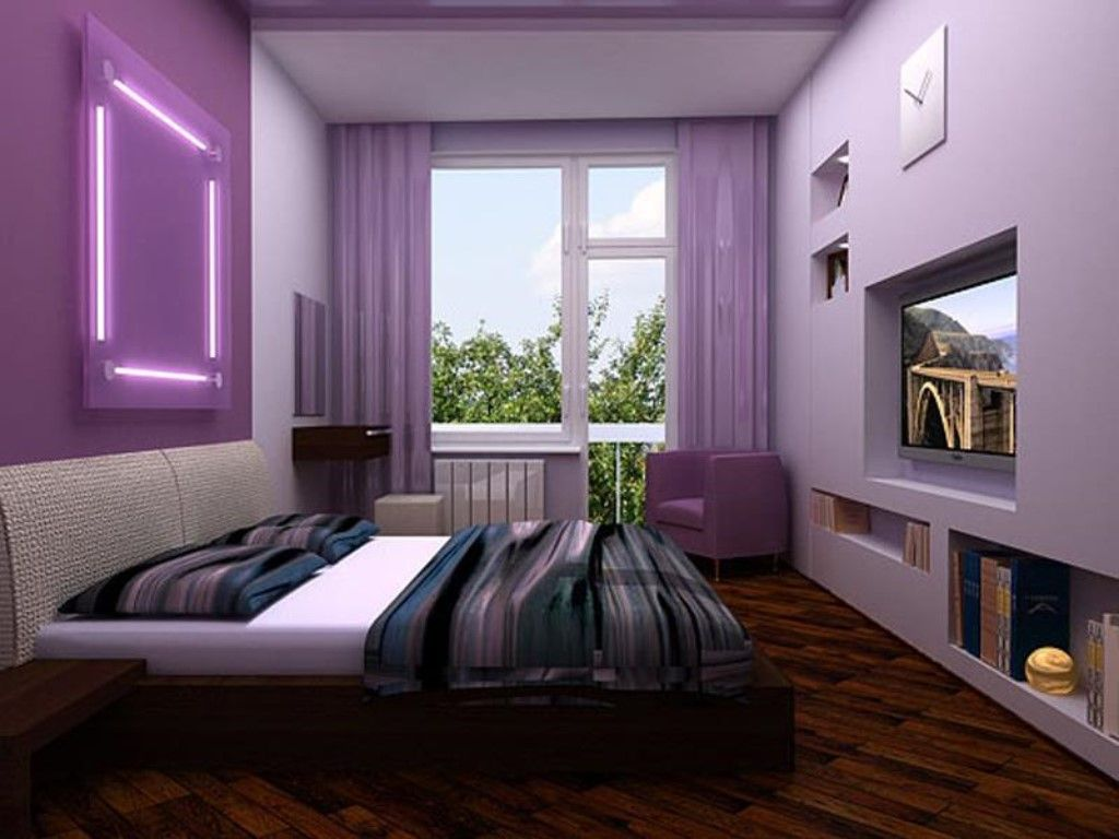Violet bedroom interior with large bed