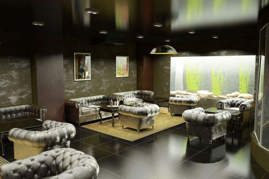 Absolutely dark living with black ceiling and yellow accentual rug at the living zone
