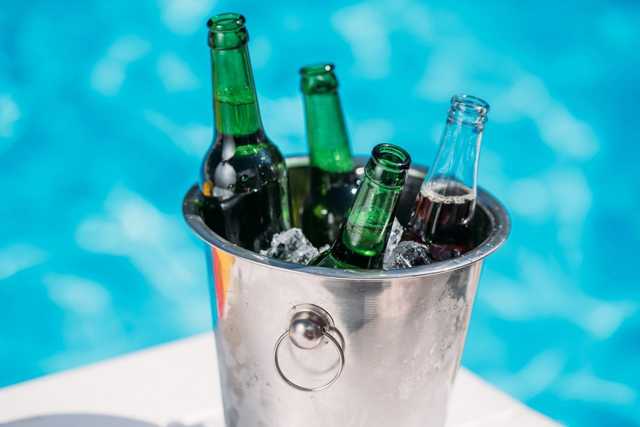 Buyer's Guide: 5 Affordable Ice Buckets. Close-up with bottles