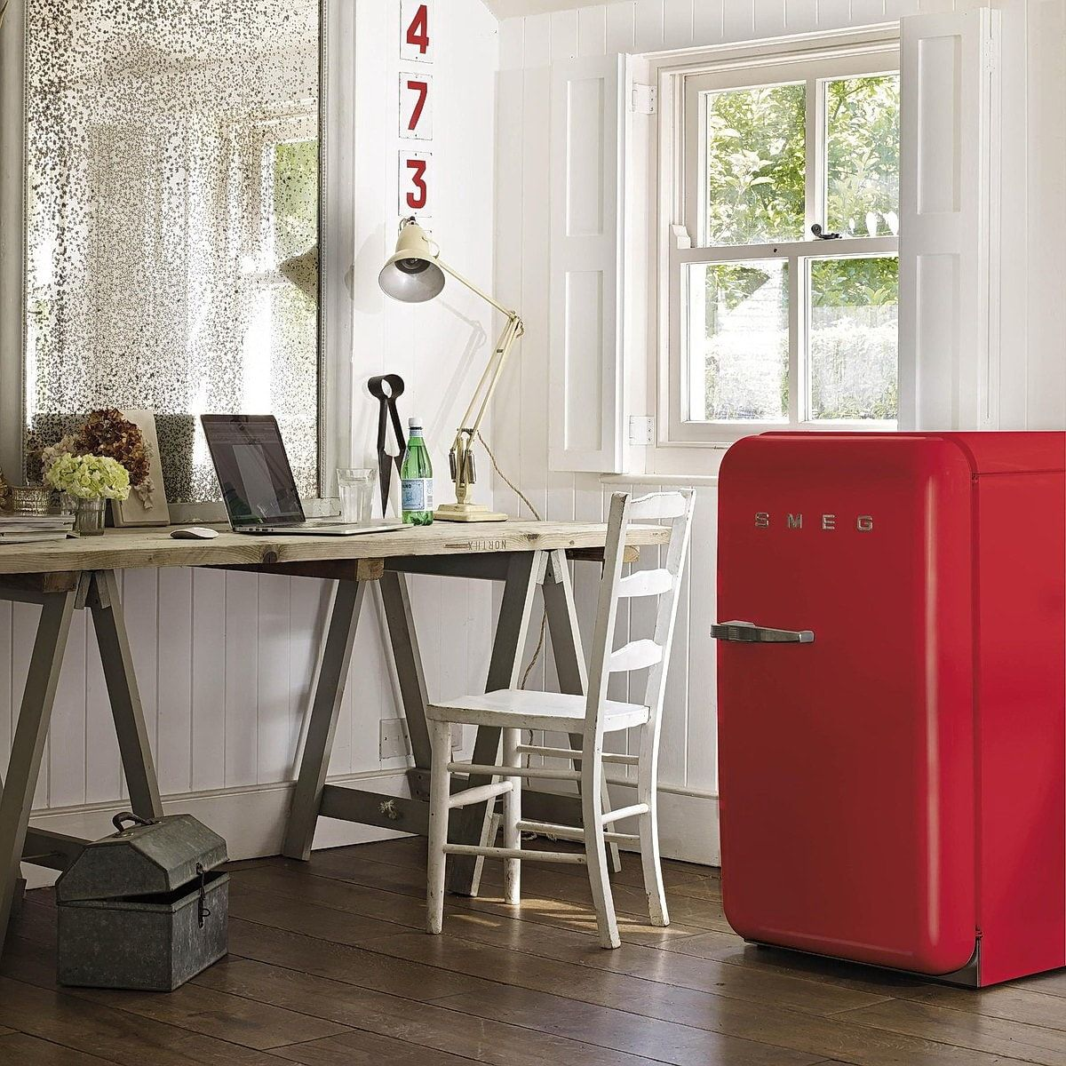 Small red fridge in white Casual styled cottage