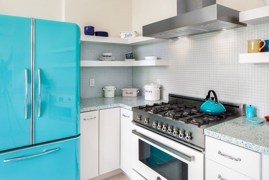 Azure color for the refrigerator to be accent in the kitchen