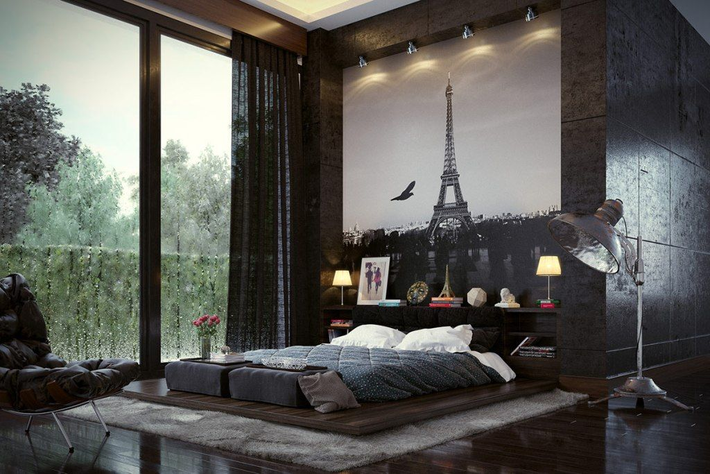 Modern designed room with photowallpaper and bed on wooden boards