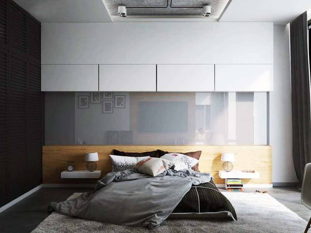 Shining white bedroom interior with glass panel
