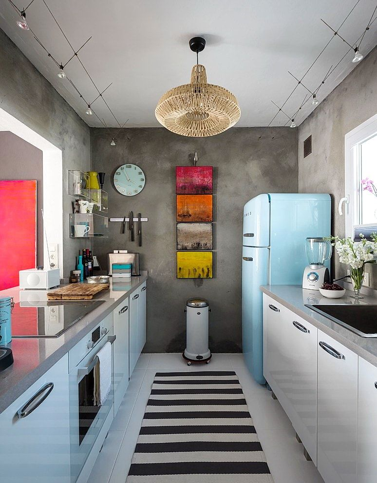 Modern texture painted gray walls and Casual style for the galley kitchen