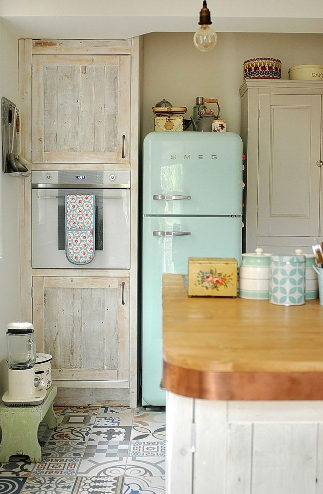 Colorful fridge for tight Rustic kitchen