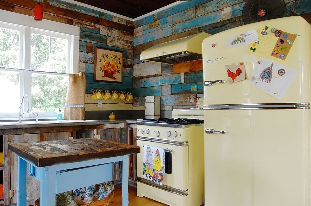 Rustic simple design with vintage furniture and creamy facaded appliances