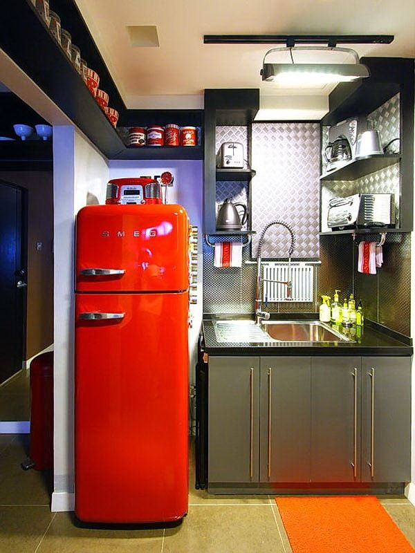 Red accent of the fridge