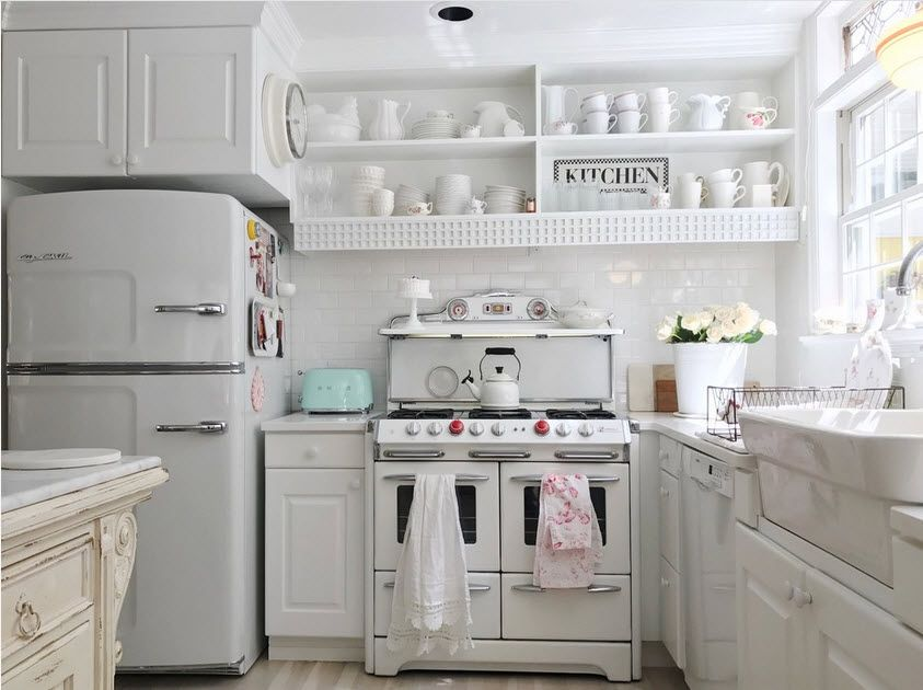 White decor in the country styled kitchen