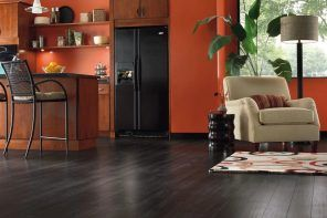 Black wooden floor and orange walls for modern styled kitchen