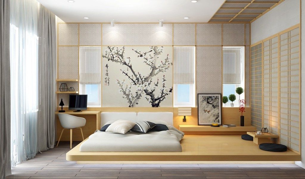 Panels of the rice paper in Oriental styled bedroom