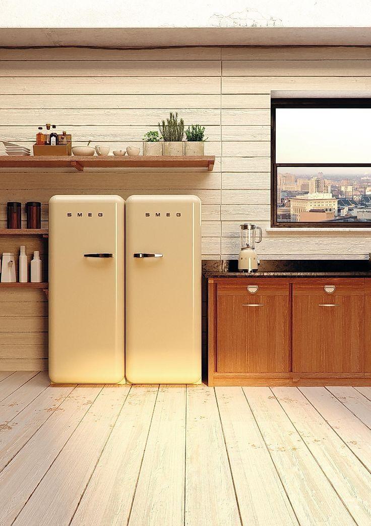 Smeg Retro designed refrigerators in yellow color