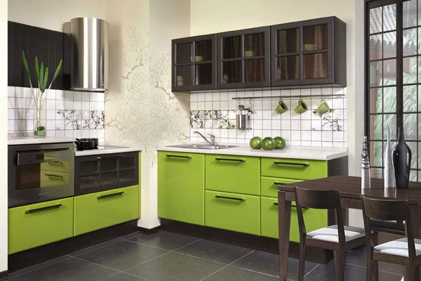 Green low tier of the kitchen furniture