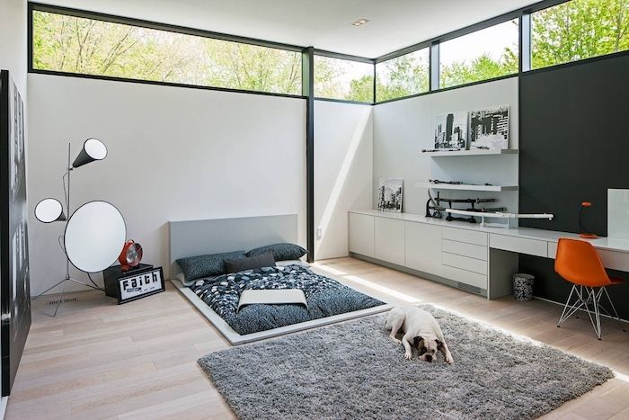 Top panel windows for the minimalistic modern room with fluffy carpet