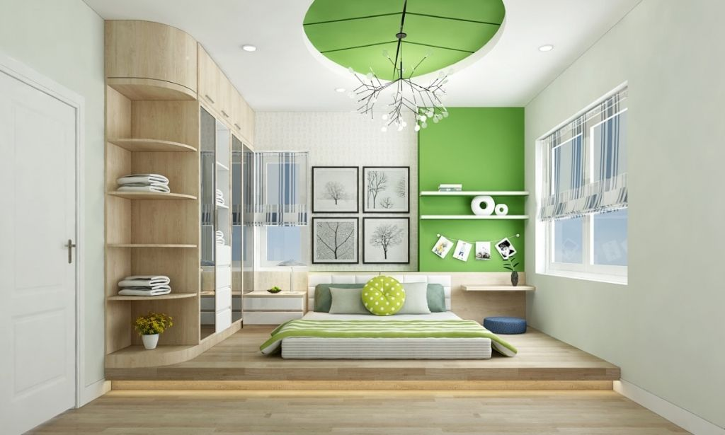 Green inlays to the light colored room