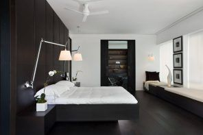 Black and white drastic contrast for modern designed bedroom with hovering bed