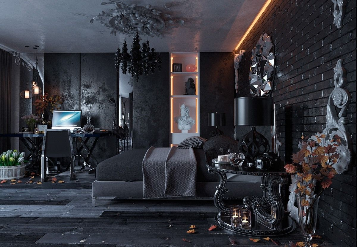 Black and White Interior Combination: Elegant Contrast in Different Rooms. Noir designed bedroom as of ashed after the fire with golden details