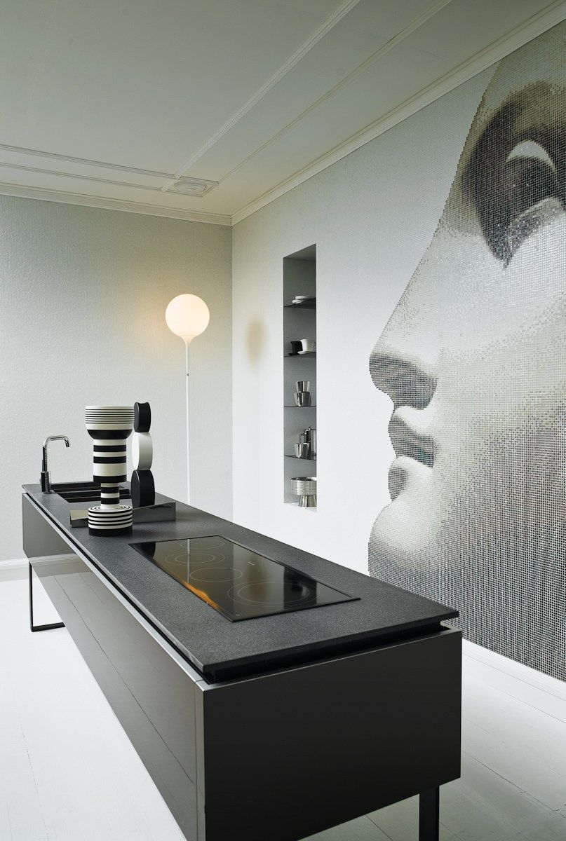 Black and White Interior Combination: Elegant Contrast in Different Rooms. Antique abstraction at the wall of the modern kitchen