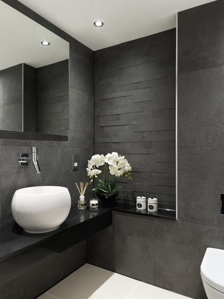 Black and White Interior Combination: Elegant Contrast in Different Rooms. Graphite colored bathroom interior with textured walls