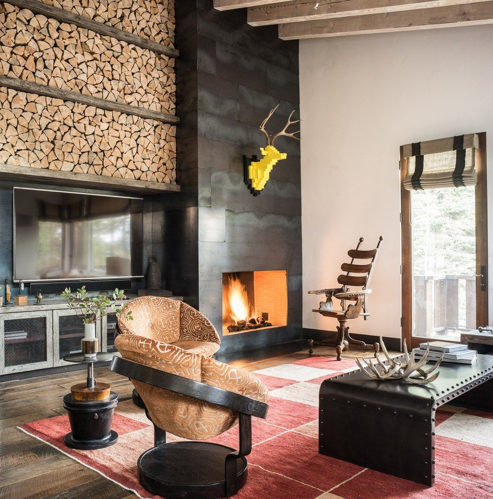 Mix of styles for the living room with large firewood rack at the top