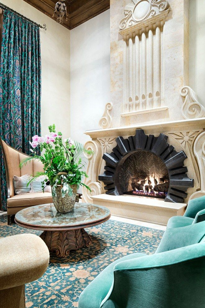 Absolutely chic execution around the fireplace in the royal styled living