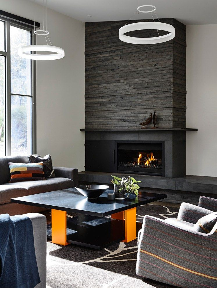 Black textured accent wall area of the fireplace