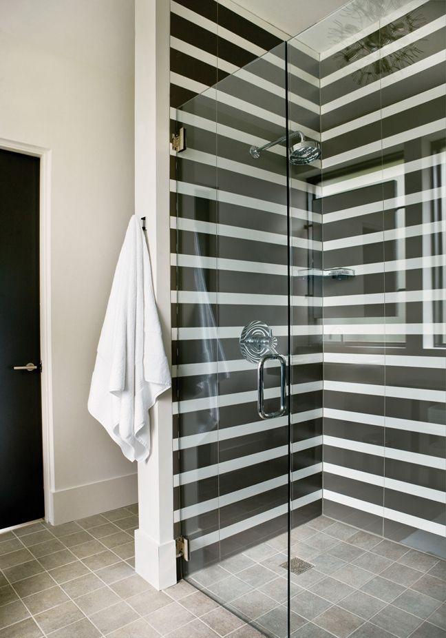 Zebra shower zone behind the glass doors