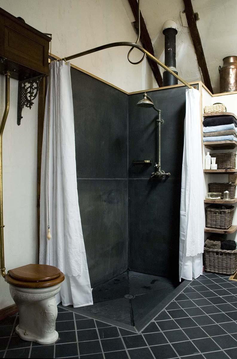 Black and White Interior Combination: Elegant Contrast in Different Rooms. Black painted steampunk shower zone