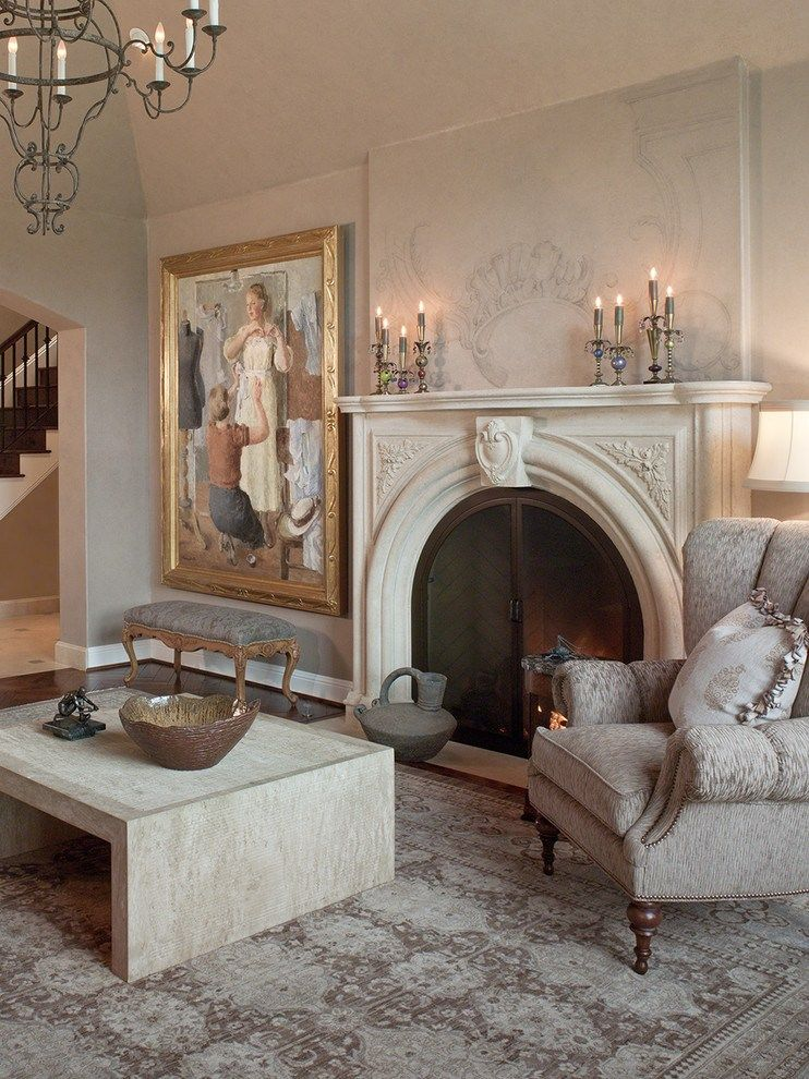 Classic decoration of the hearth with stucco