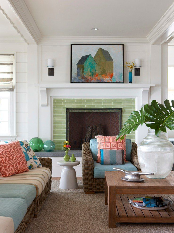 Green designed frame for the fireplace in Classic atmosphere of the living