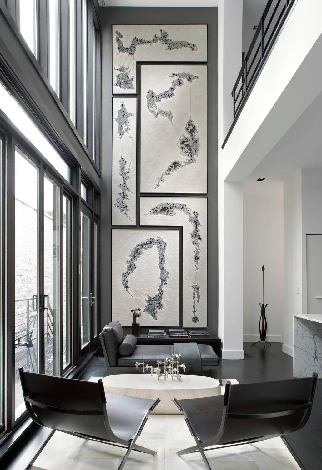Black and White Interior Combination: Elegant Contrast in Different Rooms. Very high apartment with panoramic windows and living zone