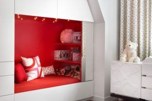 Modular furniture set design with bright red couchette for girl