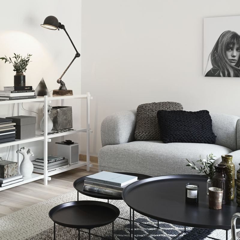 Many shades of gray, black and white for contemporary interior