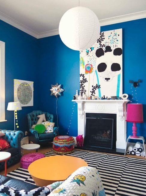 Childish perky design for modern Pop Art living room with blue walls