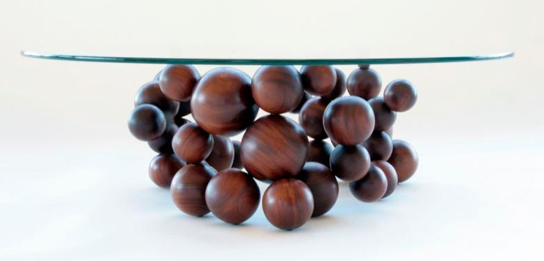 Chocolate bubbles wooden imitation as stand for coffee table