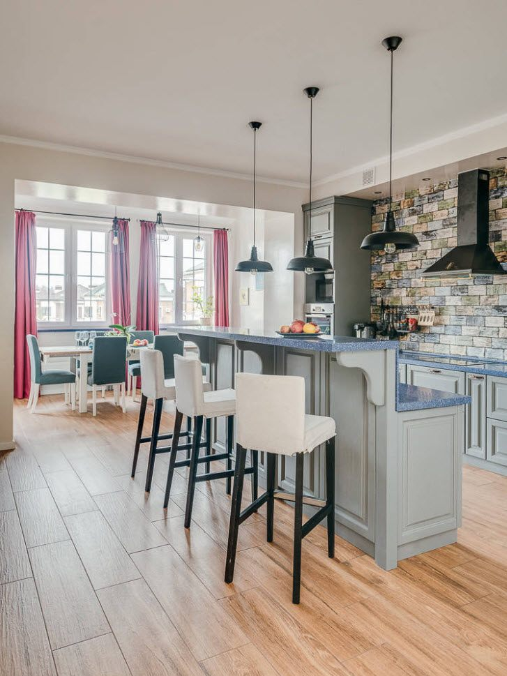 75 Square Feet Kitchen Interior Decoration Advice and Design Ideas. Dark lamps and white backs of chairs in mid-century styled interior