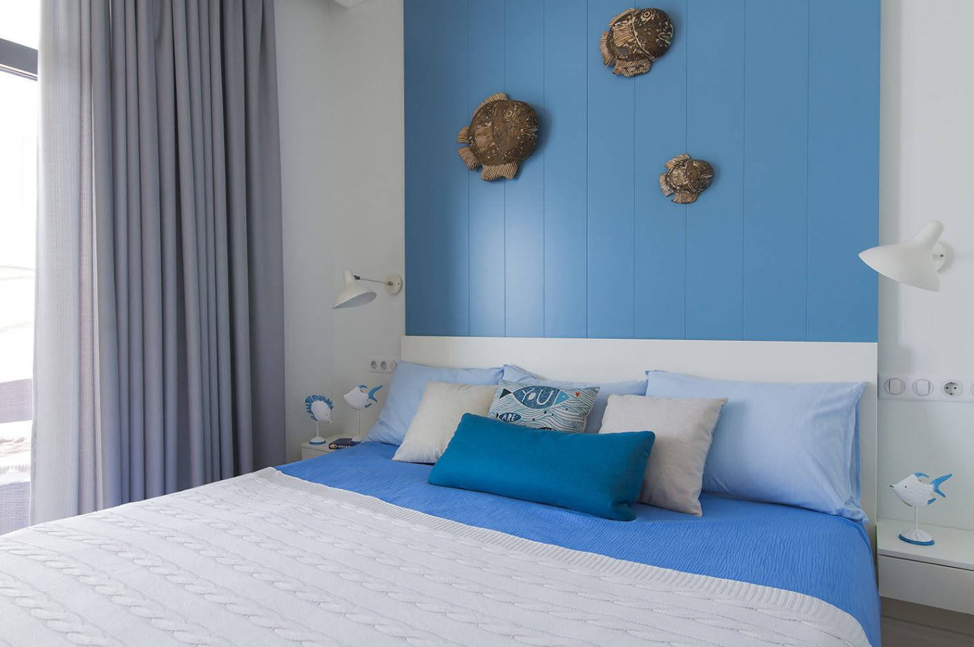 120 Square Feet Bedroom Interior Decoration Ideas. Unusual ethnic decoration of blue accent wall and gray curtains